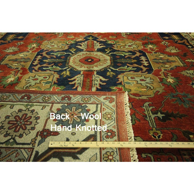 "Red & Ivory Heriz Serapi Knotted Rug - 9'10"" x 14' - Image 7 of 10"