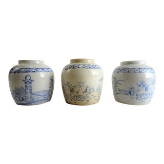 1900s Chinoserie Blue and White Ginger Jars - Set of 3 For Sale