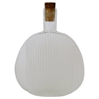 Vintage 1960s Finnish Clear Glass Art Bottle For Sale