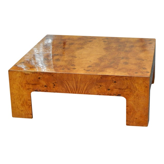 Large Square Bookmarked Burl Veneer Coffee Table For Sale