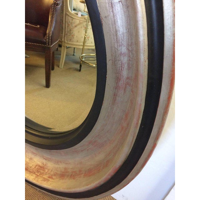 Mid-Century Modern Monumental Silver Leaf Round Architectural Mid-Century Modern Mirror For Sale - Image 3 of 7