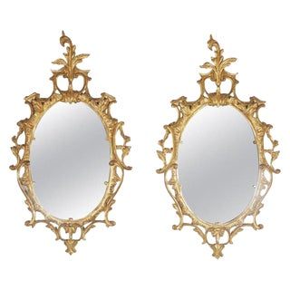 Italian Gold Gilt Hand Carved Wood Mirrors - a Pair For Sale