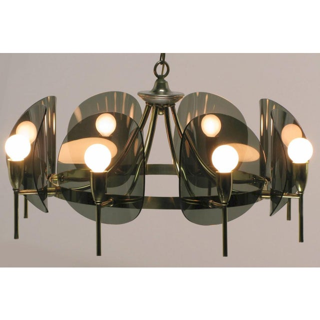 Brass & Smoked Acrylic Eight Arm Chandelier For Sale - Image 4 of 7