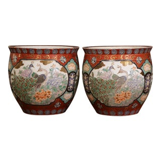 Pair of Early 20th Century Chinese Painted and Gilt Porcelain Cache Pots For Sale