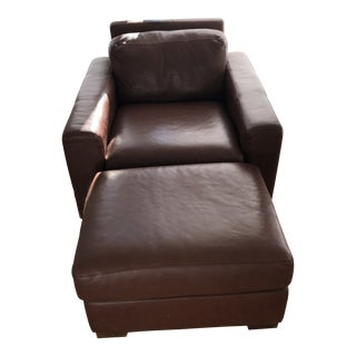Modern Ted Boerner Dwr Exclusive Club Chair and Ottoman For Sale