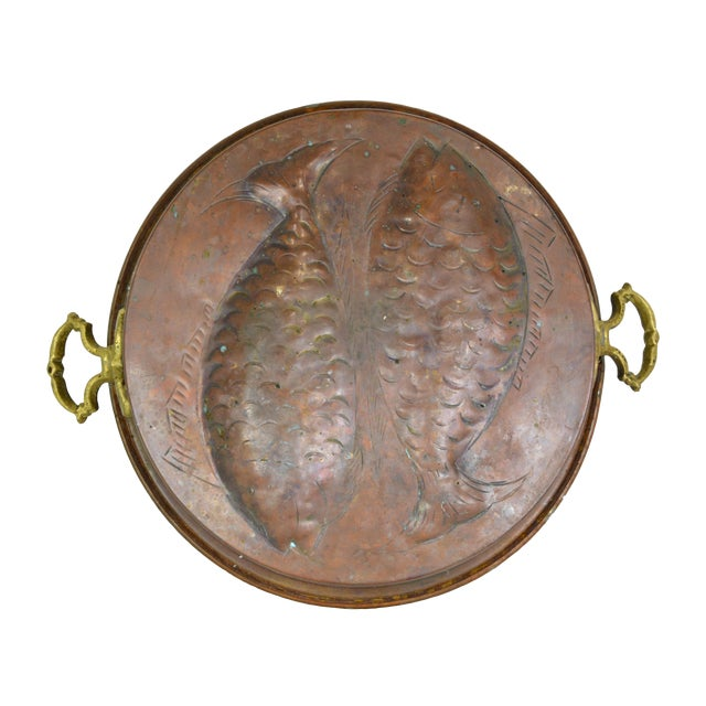 Antique Copper Embossed Fish Pan - Image 1 of 3