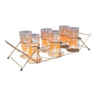 1960s Mid-Century Highball Glasses With Orange and Gold Detail and Brass Caddy Holder - Set of 7 For Sale