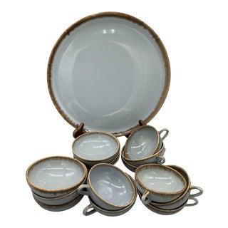 1950s Brock Pottery Desert Mist Gray Dinnerware - Set of 15 For Sale
