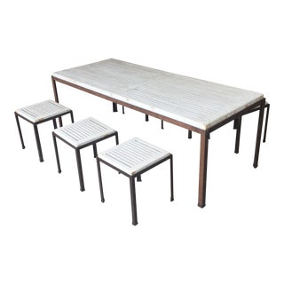 Minimalist Mid Century Modern Teak Dining Table Set For Sale