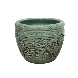 Chinese Ceramic Dragons Relief Motif Celadon Green Color Pot Planter For Sale