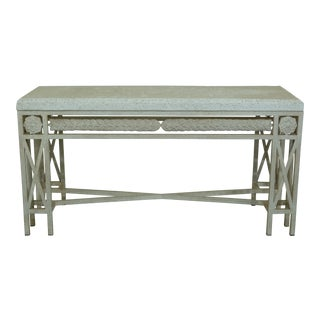 Modern Design Travertine Top Metal Base Console Table For Sale