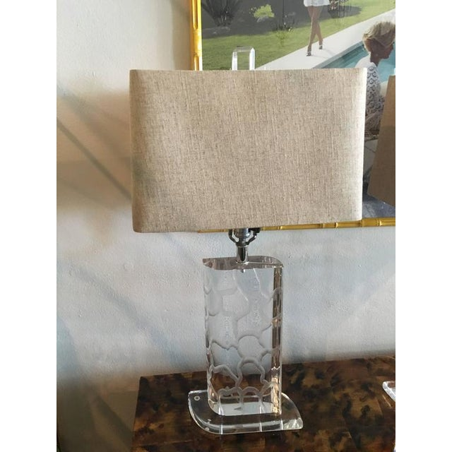 Van Teal Lucite Table Lamps - a Pair - Image 4 of 12