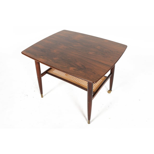 Danish Modern Rosewood Side Table With Rack - Image 3 of 7