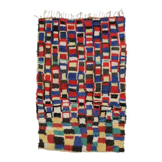 Vintage Berber Moroccan Rug With Cubism Style - 04'09 X 07'00 For Sale