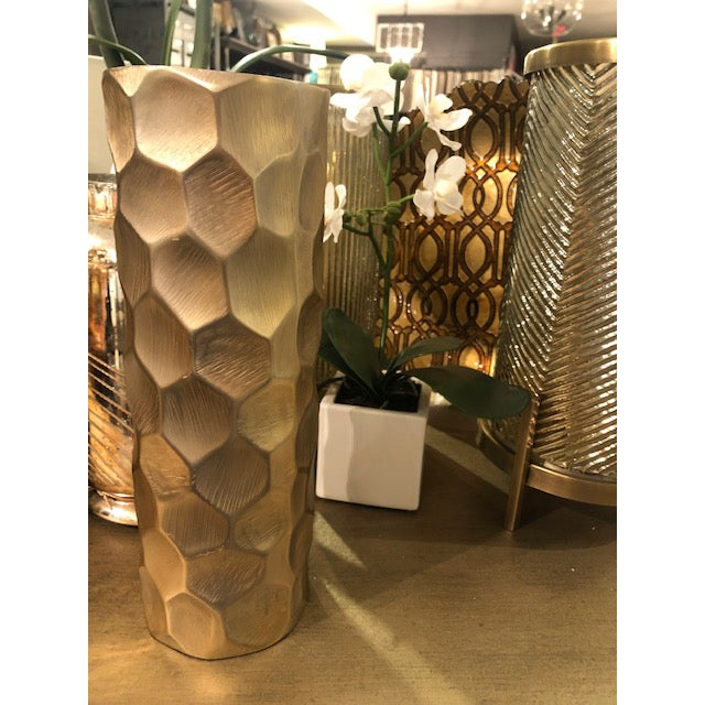"""Go bold with this dramatic chiseled aluminum piece! Pair it with the smaller 8.5""""h vase to really create a WOW! factor..."""