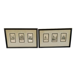 "Vintage Framed French Equestrian ""Etude De Chevaux"" Triple Plate Napoleon 1820 - a Pair For Sale"