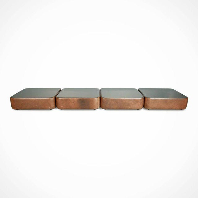 Contemporary Walter Knoll Leather Mirrored Low Tables, Four, Germany, Circa 1970 For Sale - Image 3 of 11