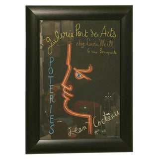 Vintage Jean Cocteau Framed Stone Lithograph Poster For Sale