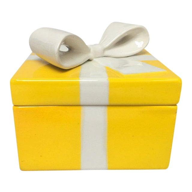 Mancioli Italy Yellow Porcelain Covered Gift Box - Image 1 of 11