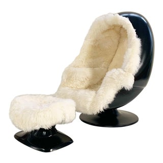 1970s Lee West Alpha Egg Chair and Ottoman Restored in New Zealand Sheepskin