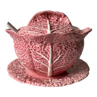 Bordado Pinheiro Pink Cabbage Leaf Majolica Tureen, Lid, Platter& Ladle For Sale