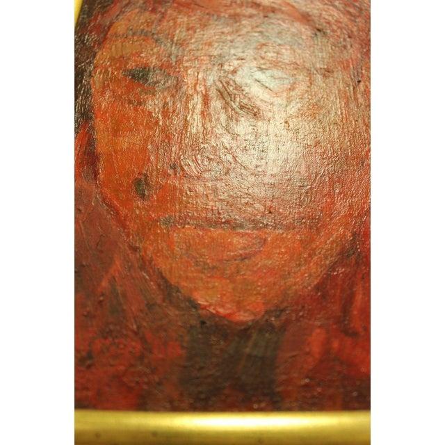 Mid-Century Modern Gene Szafran Oil on Board Head Study Orange For Sale - Image 4 of 7