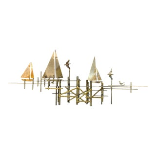 Mid-Century Modern Curtis Jere Brass Sailboat on Seagull Pier Wall Sculpture For Sale