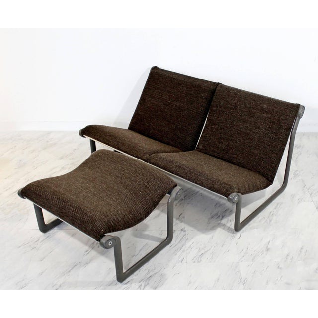 Mid-Century Modern Mid-Century Modern Hannah Morrison Knoll Two-Seat Sling Sofa & Ottoman - Set of 2 For Sale - Image 3 of 10