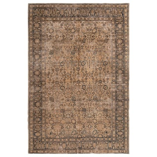 Antique Doroksh Brown and Blue All-Over Floral Pattern Wool Rug - 7′5″ × 11′ For Sale