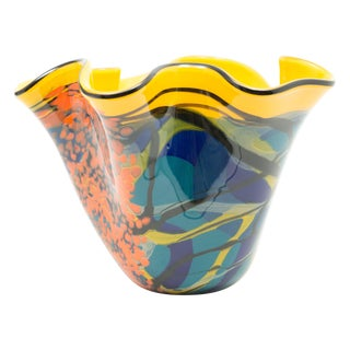 Ioan Nemtoi Very Large Floriform Napkin Contemporary Art Glass Signed Vase For Sale