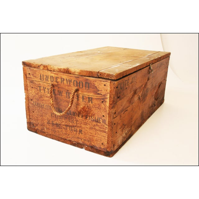 Vintage Rustic Underwood Typewriter NYC Wood Storage Crate - Image 5 of 11