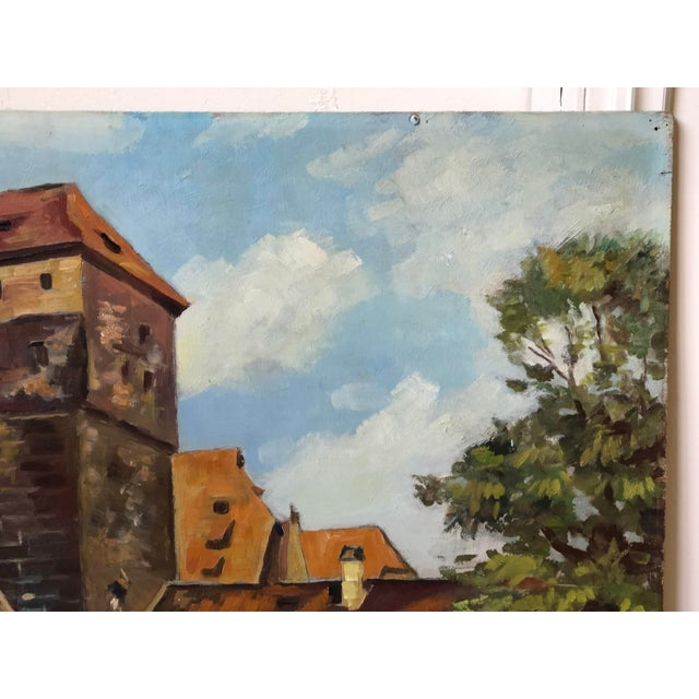 Mid 20th Century Impressionist Oil Painting of a Continental Townscape For Sale - Image 5 of 12