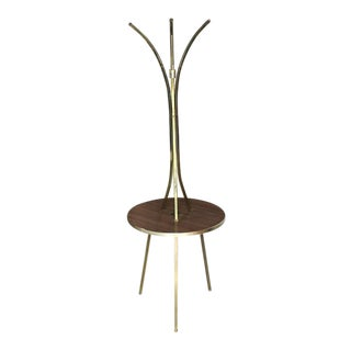Brass Tri Leg Tripod Base Round Side Table Floor Lamp For Sale