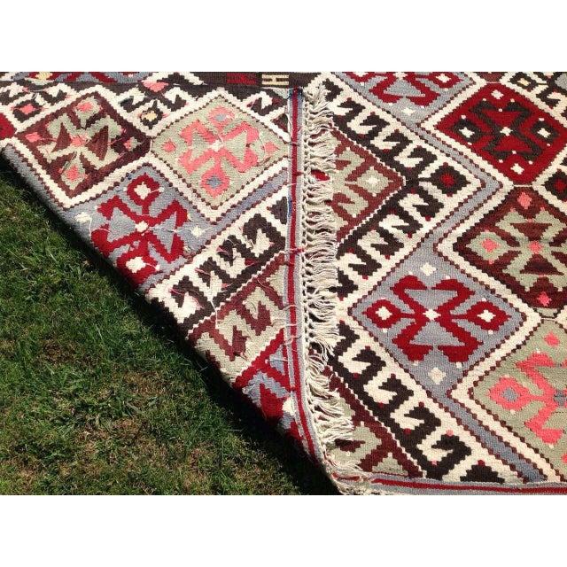 Vintage Turkish Flat Weave Rug: Vintage Turkish Kilim Chevron Diamond Flat-Weave Wool