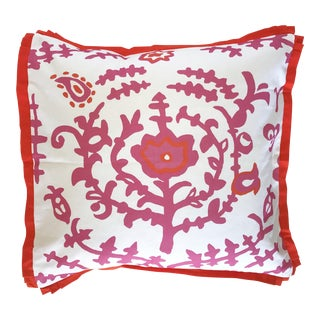 Dana Gibson Pink Ottoman Pillow with Flange For Sale
