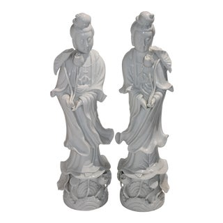 Large Scale Blanc De Chine Quan Yin Figures - a Pair For Sale