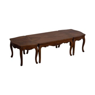 Baker Vintage French Louis XV Style Walnut 3pc Coffee Table For Sale