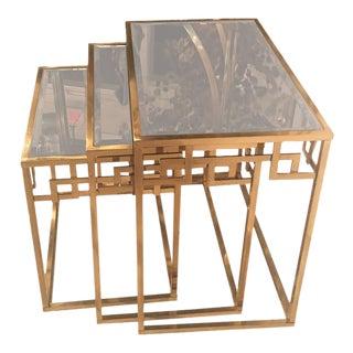Brass Greek Key & Glass Italian Nesting Tables - Set of 3