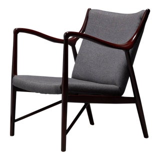 Rosewood Finished Danish Modern Chair in Style of Finn Juhl / Niels Vodder Nv45 For Sale