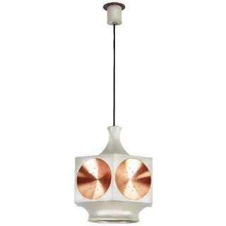 1960's Mid-Century Modern Stilnovo Hexagonal Brushed Copper Pendant Light