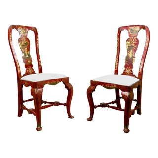 1740s Queen Anne Red Japanned Chinoiserie Side Chairs - a Pair For Sale
