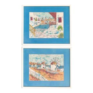Vintage Greek Framed Batik and Cloth Paintings of Mykonos Windmills- a Pair For Sale