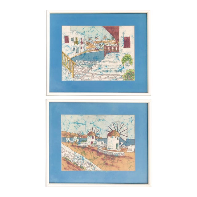 Vintage Greek Framed Batik and Cloth Paintings of Mykonos Windmills- a Pair For Sale