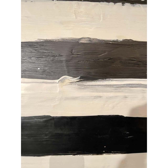 "Black Lynn Basa Encaustic Black and White Stripe Panel ""Not So Simple"" 2012 For Sale - Image 8 of 12"