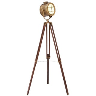 Brass Tripod Spot Light For Sale