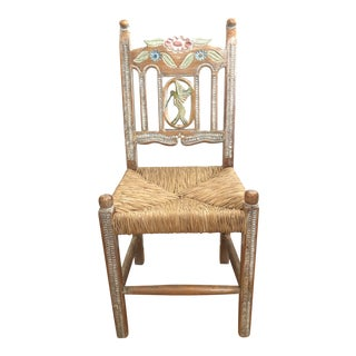 Rustic Side Chair With Hand Carved and Painted Hummingbird For Sale