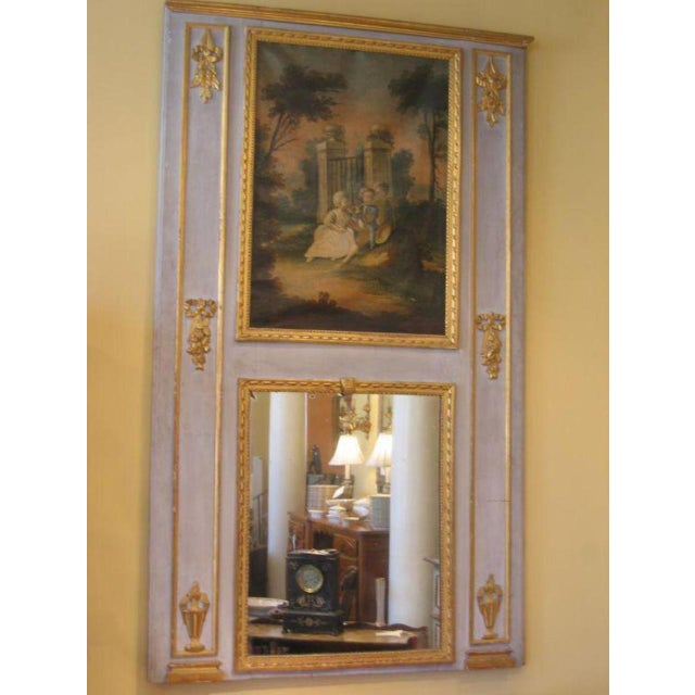 French 19th Century French Antique Trumeau Mirror in Blue For Sale - Image 3 of 6