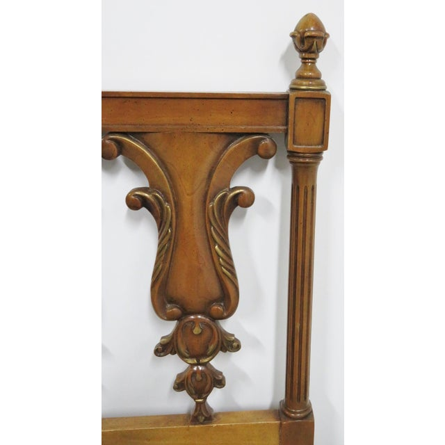 Italian style king size headboard, fruitwood, carved vase form backs. Made in the mid 20th century