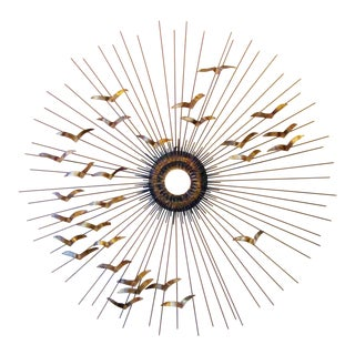 "1960s Willem Degroot Mid-Century Modern Metal Sunburst ""Birds in Flight"" Wall Sculpture For Sale"