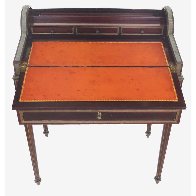 19th Century French Paul Sormani Cylinder Writing Desk in Walnut For Sale - Image 9 of 13